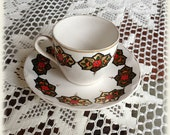 1930s Handpainted Turkish Coffee Cup and Saucer, Gold Floral Demitasse Cup Saucer, Signed Nezihe