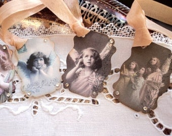 Angel Baby. 10 Vintage Children as Angels Tags with Rhinestones