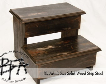 XL Adult Size Step Stool Black Distressed hardwood WOOD Kitchen Pantry Closet Bed Bathroom - Great for 2 KIDS too - Modern Simple & Classic!