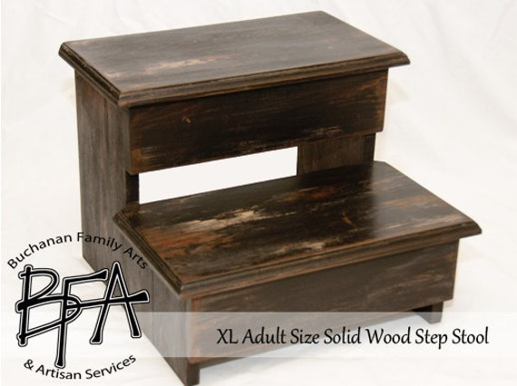 xl adult size step stool black distressed hardwood wood. Black Bedroom Furniture Sets. Home Design Ideas