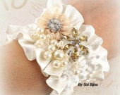 Corsage, Wrist, Cuff, Bridal, Mother of the Bride, Maid of Honor, Ivory, Cream, Peach, Gold, Pearls, Brooch, Crystals, Vintage-Style
