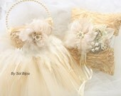 Ring Bearer Pillow, Flower Girl Basket, Champagne, Ivory, Cream, Tutu Basket, Feathers, Tulle, Lace, Pearl Handle, Crystals, Vintage Style
