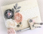 Wedding Guestbook and Pen Set Shabby Chic Vintage Inspired in Blush Pink, Ivory and Shades of Grey