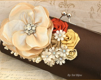 Clutch, Chocolate, Brown, Champagne, Tan, Gold, Brown Purse, Handbag, Vintage Wedding, Mother of the Bride, Brooch, Pearls, Crystals