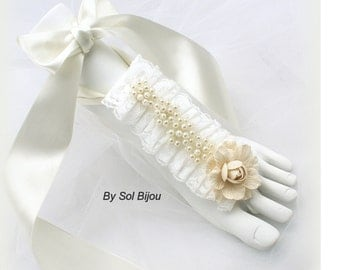 Barefoot Sandals, Ivory, Champagne, Vintage Wedding, Destination, Beach Wedding, Foot Jewelry, Flats, Sandals, Pearls, Lace, Linen