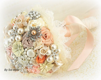 Brooch Bouquet, Peach, Coral, Tangerine, Blush,Ivory, Tan, Champagne, Bridal, Vintage Style, Elegant Wedding,Crystal Bouquet, Pearl Bouquet