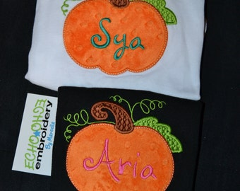 Pumpkin Halloween Fall Shirt  Baby, toddler, kids  Personalized with name