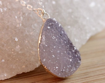 Silver Druzy Necklace - Choose Your Druzy - Druzy Quartz Necklace, 925