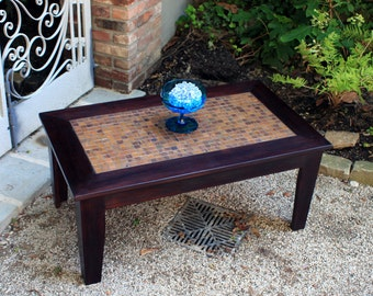 "Coffee Table, Copper Mosaic, ""Copper Sunset"", Hardwood, Contemporary Styling, Dark Brown Wax Finish - Handmade"