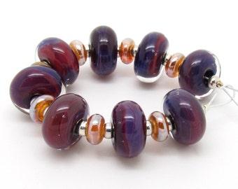 Lampwork Bead Set, Silver Glass Beads, Purple Lampwork Beads, Encased Glass Beads, UK, FHFteam, SRA