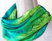 Silk Scarf Handpainted in Peridot and Teal Greens, Ready to Ship and Gift Packaged for Mother's Day
