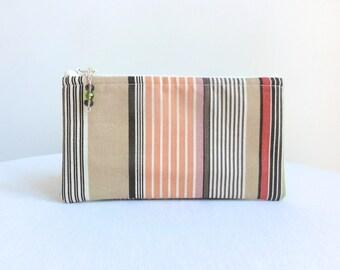 Cosmetic Bag / Zippered Bag - Brown, Orange & Ivory Stripe - READY TO SHIP