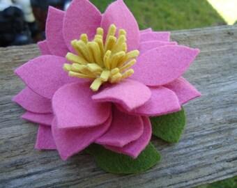 Mauve Pink Lotus Lily Pad Felt Flower Clip