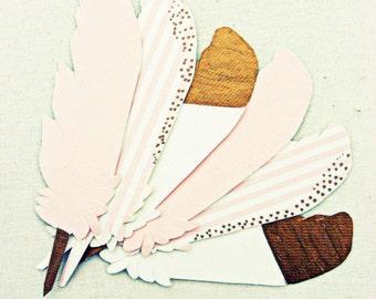 Feather wedding escort cards, 10 place cards, pink, gold, ivory, stripe, seersucker, boho wedding, beach, nursery decor