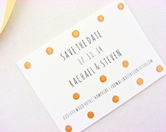 Wedding save the date cards, gold polka dots, hand gilded, 25, modern, wedding invitations