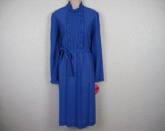 vintage ruffle dress 70s blue tuxedo bodice belted tunic dress large new old stock