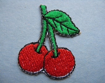 vintage cherry patch 70s embroidered cherries fruit trim iron-on appliqué new old stock