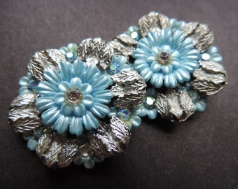 Coro flower earrings 50s celluloid rhinestone something blue clip-on earrings