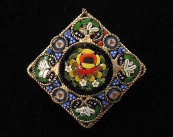 Adorable Square Mini Mosaic Italian Brooch, 1930's