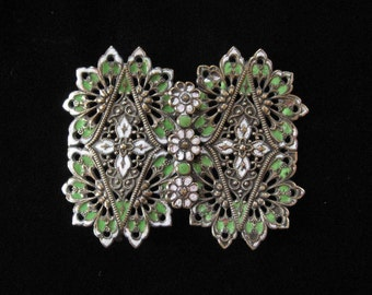 Victorian Stamped Brass Filigree Buckle with Green and White Enamel