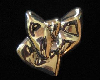 Sterling Silver Electroformed Bow Brooch Signed BJFLA