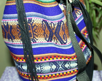 Hand Crafted By Maggie-Beauitful  Backpack- Messenger Bag with Rainbow Colors - Back to SCHOOL SALE.