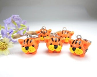 Tiger Stitch Markers, knitting stitch markers, knitting accessories, tiger charms, animal lover, cute charms gift for knitters, polymer clay