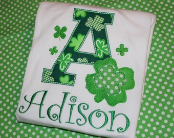 St. Patricks Day Shamrock initial- boy or girl- tshirt, dress or baby boydsuit- personalized