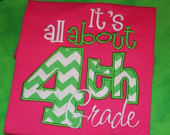 It's all about 4th grade- school teacher shirt- can change number- adult or kids shirt