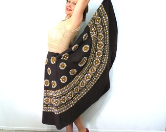 Vintage Cotton Circle Skirt Mosaic Print Skirt South Indian Tribal Gypsy Hippie
