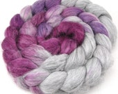 Spinning Fiber - Alpaca/Silk  Roving Combed Top - Silver Chalice