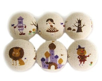The Wizard of Oz - Fabric Covered Buttons - 6 Medium Buttons