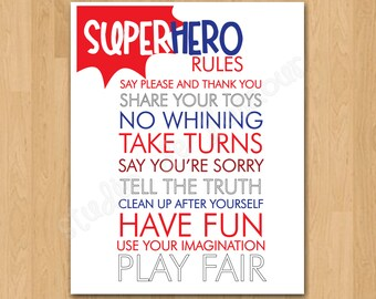 "PRINTABLE PDF Instant Download ""Superhero Rules"" Kids Print"