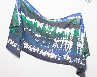 Unique Hand Painted Tie Dye Silk Cotton Summer Sarong Indigo Style Blue Green Colours Scarf Wrap  Colorfull Beach Holidays