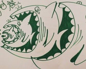 Drawing/ Painting on Heavy paper Green fish