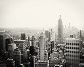 Skyline Photography, Black White Photograph, New York City Decor - Empire State, Manhattan Wall Art, Prints for Walls, Architecture Print