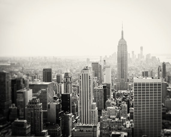 New York City Skyline / Photograph / Black and White NYC Art Print / Empire State Building / large wall art / urban / Manhattan cityscape