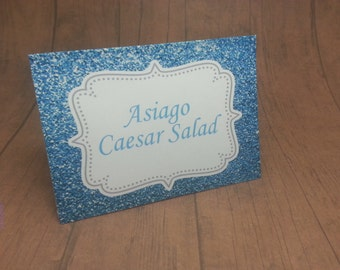 """Blue sparkle food tent cards - Place cards - Food signs - """"Blue Glitter"""" by Just Scraps N Things"""