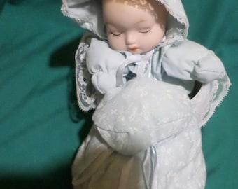 vintage music box porcelain doll in shoe adorable