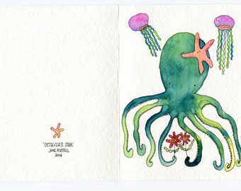 Octavia's Star, hand painted greeting card, original watercolor