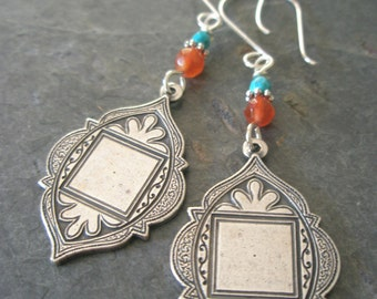 Turquoise and Silver Earrings, Turquoise, Carnelian, Silver Medallion Earrings with Sterling Silver Ear Wires