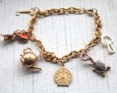 Handmade Alice In Wonderland Charm Bracelet // Vintage 1950s 1960s NOS  Brass Charms // Novelty Jewelry