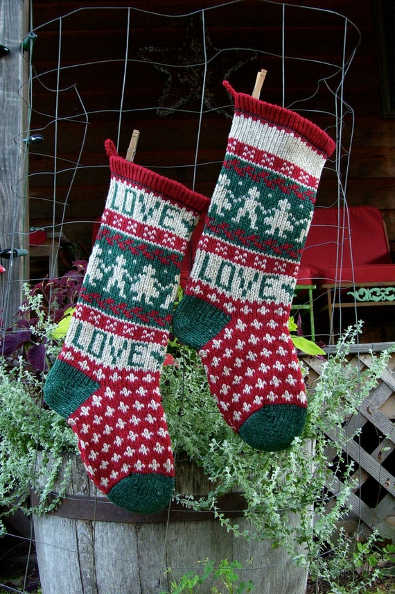 Christmas Stocking Knitting Pattern Circular Needles : LOVE Theme Christmas Stocking Knitting Pattern Digital