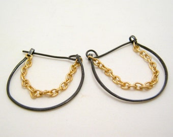 SALE - clearance - annealed steel earrings with gold chain