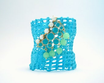 SALE - clearance - mesh cuff bracelet - turquoise with beaded embellishment - one size fits most