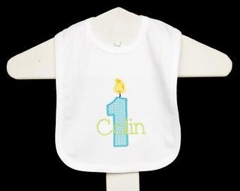 1st Birthday Bib, Personalized Birthday Bib, Monogrammed,  Custom Fabrics, Colors, and Font, Birthday Gift