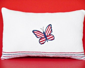 Patriotic Pillow Butterfly Red White Blue Americana Primitive Decorative Repurposed