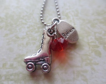 Skate Necklace - Roller Skating and Believe Charms with Ruby Red Stone
