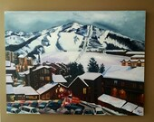 Ski Resort Oil Painting - 40x30in Large Painting On Sale