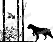 Vinyl Car Decal - Brittany Spaniel - Dog with Flushing Grouse and Trees - Dog Decal - Animal Stickers - 9 x 12 - Black -  pick the color